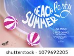 beach party poster with... | Shutterstock .eps vector #1079692205