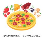 pizza and products for pizza... | Shutterstock .eps vector #1079696462