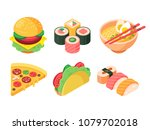 set of colorful isometric fast...   Shutterstock .eps vector #1079702018