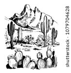 sketch of the desert of america ... | Shutterstock .eps vector #1079704628