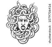 medusa head with snakes greek...   Shutterstock .eps vector #1079706416
