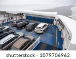 Small photo of ESTONIA- CIRCA MAR, 2018: Cars are parked on deck of ferry. Route from Virtsu to Kuivastu, Saaremaa island on icy water. TS Laevad is an Estonian company which operates two routes in the Baltic Sea