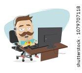 bored call center agent on the...   Shutterstock .eps vector #1079707118