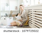 busy young female holding... | Shutterstock . vector #1079725022