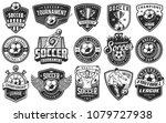 set of soccer emblems in... | Shutterstock . vector #1079727938