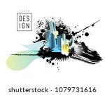 colorful panorama city. vector... | Shutterstock .eps vector #1079731616