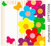 flowers and butterflies... | Shutterstock . vector #1079733506