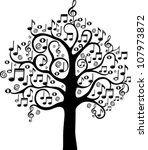 Black Tree From Musical Notes...