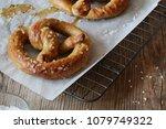 fresh homemade soft pretzel...   Shutterstock . vector #1079749322