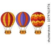 flat colorful hot air balloon... | Shutterstock .eps vector #1079761976