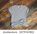 mockup of blank gray tshirt on... | Shutterstock . vector #1079767802