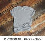 mockup of blank gray tshirt on... | Shutterstock . vector #1079767802