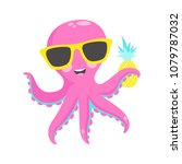 cute pink octopus with ... | Shutterstock .eps vector #1079787032