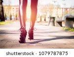 legs view of a woman walking... | Shutterstock . vector #1079787875
