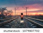 railway station with semaphore... | Shutterstock . vector #1079807702