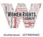 vector conceptual women rights  ... | Shutterstock .eps vector #1079809682
