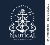 nautical typography emblem with ... | Shutterstock .eps vector #1079836022