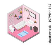 vector bathroom isometric... | Shutterstock .eps vector #1079844842