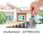 saving coins money for concept... | Shutterstock . vector #1079851442