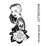 tattoo sketch design with girl... | Shutterstock .eps vector #1079855048