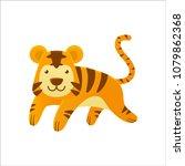 cute little tiger running and... | Shutterstock .eps vector #1079862368