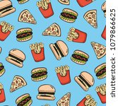 fast food seamless pattern | Shutterstock .eps vector #1079866625