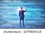 businessman in vr glasses with... | Shutterstock . vector #1079869115