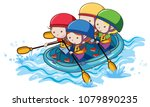 doodle kids rafting on white... | Shutterstock .eps vector #1079890235