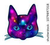 cat head with cosmos and stars... | Shutterstock .eps vector #1079897318