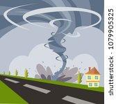 huge typhoon and hurricane... | Shutterstock .eps vector #1079905325