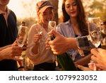 hands of man in group of... | Shutterstock . vector #1079923052