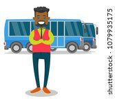 young black bus driver in... | Shutterstock .eps vector #1079935175