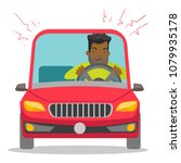 angry black man in a car stuck... | Shutterstock .eps vector #1079935178