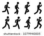 stick figure man runs  icon... | Shutterstock . vector #1079940005