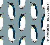 king penguin seamless pattern.... | Shutterstock .eps vector #1079942825