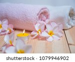 flowers and spa massage items... | Shutterstock . vector #1079946902