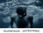 sporty young man freediver... | Shutterstock . vector #1079979962