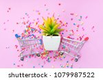 close up mini shopping cart on... | Shutterstock . vector #1079987522