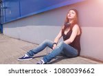 young girl in sunglasses and... | Shutterstock . vector #1080039662