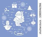 santa claus with presents and... | Shutterstock .eps vector #1080046586