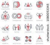 vector set of flat linear icons ... | Shutterstock .eps vector #1080053345