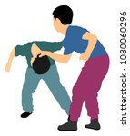 two boys fighting vector. two... | Shutterstock .eps vector #1080060296