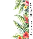 watercolor banner tropical... | Shutterstock . vector #1080067112