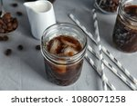 jar with cold brew coffee on... | Shutterstock . vector #1080071258