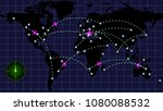 flight of aircraft on the night ... | Shutterstock . vector #1080088532