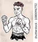 a close up of hand drawn boxer... | Shutterstock .eps vector #1080096752