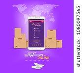 shopping online on website or... | Shutterstock .eps vector #1080097565