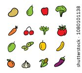 hand drawn doodle fruits and... | Shutterstock .eps vector #1080101138