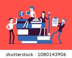 teachers group at giant books.... | Shutterstock .eps vector #1080143906