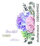 vector floral card desing with... | Shutterstock .eps vector #1080149402
